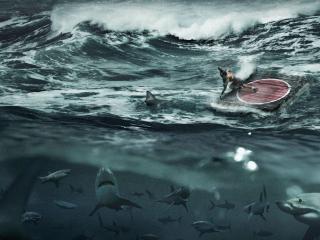 обои Борцы на плоту в шторм фото