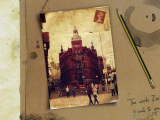 обои Город на открытке,   карандаш фото