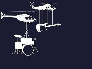обои Вертолеты с гитарой и барабанной установкой фото