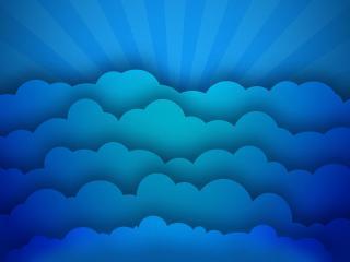 обои Голубые облака и лучи фото