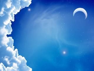 обои Месяц и звезды в облачном небе фото
