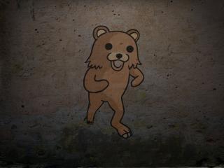 обои Медведь на стене фото