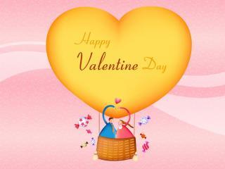 обои День Св. Валентина - Влюбленные на воздушном шаре фото