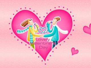 обои День Св. Валентина - Пара изображенная в сердце фото