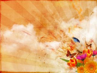 обои Бабочки и цветы фото