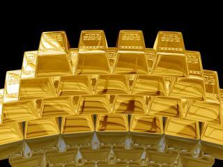 обои Слитки золота горкой фото
