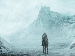 обои Всадник у озера в метель фото