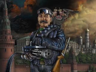 обои Сталин у кремля с  пулеметом фото