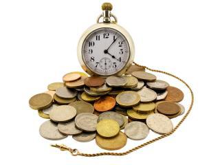 обои Часы  и  монеты фото