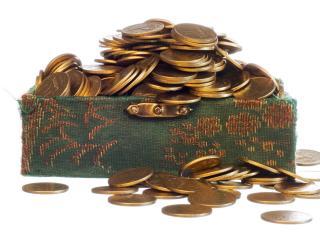обои Шкатулка и  монеты фото