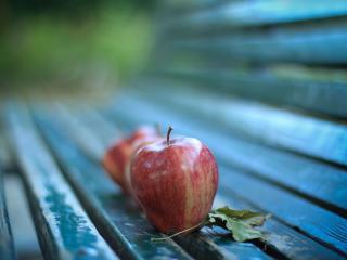 обои Яблоки  на  скамейке фото