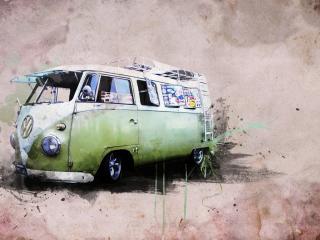 обои Рисунок хиппи - фургона фото