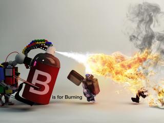 обои Заяц с зажигалкой,   кубик с балончиком и огонь фото