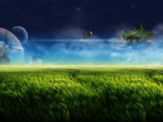 обои Фантастический пейзаж с ветряными мельницами фото