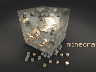 обои Minecraft надпись и блок из кубиков фото