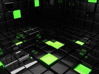 обои Квадраты черные и зеленые фото