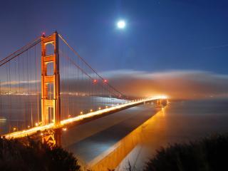 обои Вид моста в лунную ночь фото