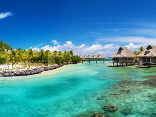 обои Bora bora домики на тропическом побережьи фото