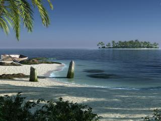 обои Лодка и пальмы на побережье фото