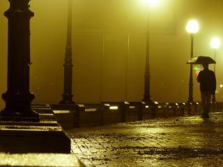обои Вечерний дождь на набережной и одиночество фото