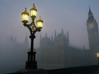 обои Туманный город лондон фото