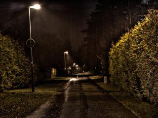обои Улица светящихся фонарей фото