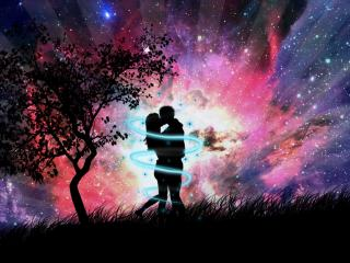 обои Звездный поцелуй у дерева фото