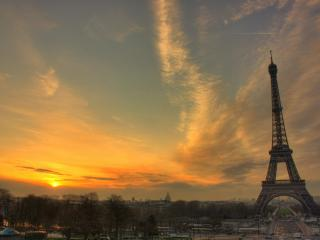 обои Закат над Парижем фото