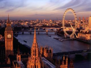 обои Река Лондона и колесо обозрения фото