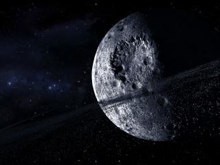 обои Астероидное кольцо вокруг планеты с кратерами фото
