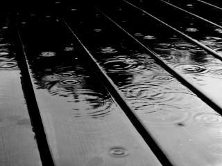 обои Капли дождя на досках фото