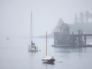 обои Парусники на водоеме в тумане фото