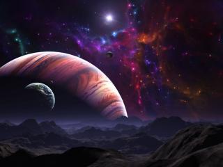 обои Красивый вид на далекой планете фото