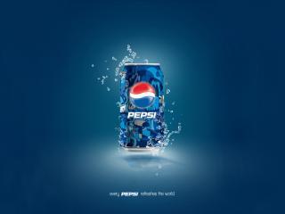 обои Банка Pepsi с каплями на синем фоне фото