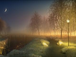 обои Часовня и тропинка освещенная фонарями фото