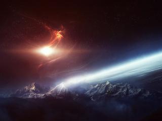 обои Звездное сияние над планетой фото