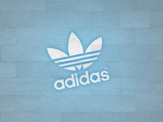 обои Adidas логотип на голубой стене фото