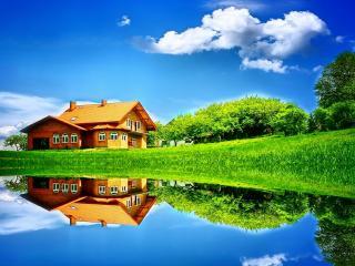 обои Дом на зеленом берегу зеркального водоема фото