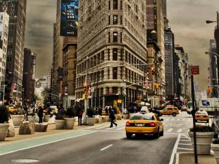 обои Нью-йоркское такси на улицах города фото