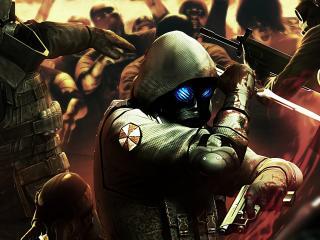 обои Resident evil,   отбиваясь ножом и пистолетом фото