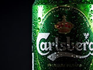 обои Carlsberg пиво и капли на банке фото