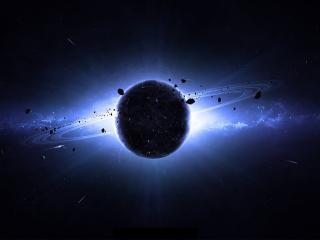 обои Кольца и свечение вокруг планеты фото