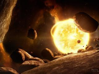 обои Космические астероиды возле раскаленной планеты фото