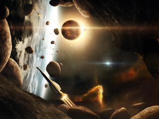 обои Космические корабли в зоне астероидов фото