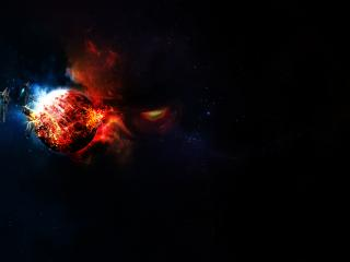 обои Космические корабли у взорвавшейся планеты фото