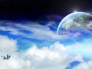 обои Космические облака и чужая планета фото