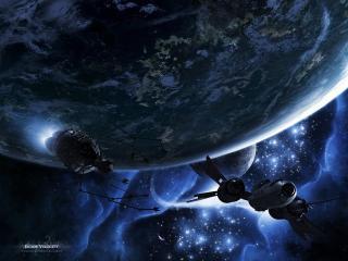 обои Космический корабль и спутник фото