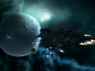 обои Космический корабль у поверхности планеты фото