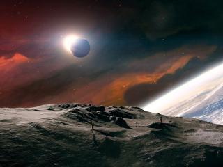 обои Космонавты на поверхности планеты фото