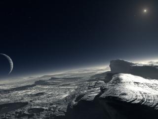 обои Кратеры на планете ее спутник фото